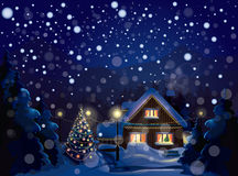 Вектор ландшафта зимы. С Рождеством Христовым! Стоковое Изображение RF