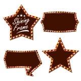 Вектор афиши звезды Сияющая светлая доска знака Реалистическая рамка лампы блеска Масленица, цирк, стиль казино изолировано иллюстрация штока