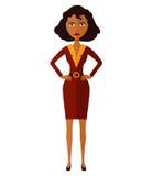 Вектор - афроамериканец потревоженная женщина Сердитая девушка дела Слабонервная девушка банкира Женщина менеджера Ся молодая жен иллюстрация штока