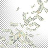 Вектор банкнот доллара летания Банкноты счетов денег шаржа Понижаясь финансы доллары дождя прозрачно иллюстрация вектора