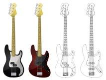 вектор басовых гитар Стоковые Изображения RF