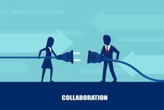 Вектор бизнесмена и штепсельной вилки и выхода коммерсантки соединяясь бесплатная иллюстрация