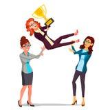 Вектор бизнес-леди победителя Бросая коллега вверх Бизнесмены празднуя победу С золотым трофеем first иллюстрация вектора