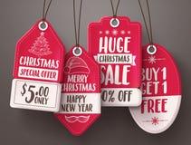 Вектор бирок продажи рождества красный установил с различными формами и текстом продажи и скидки иллюстрация вектора