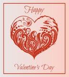 вектор Валентайн иллюстрации s сердца зеленого цвета dreamstime конструкции дня карточки стилизованный красивейший флористический Стоковые Фотографии RF