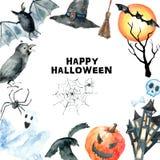 вектор вампира знахарки мрачного жнеца иллюстрации halloween установленный Стоковое Фото
