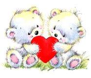 вектор Валентайн иллюстрации дня пар любящий Милый белый медведь и красное сердце Стоковые Изображения
