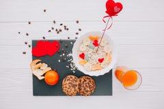 вектор Валентайн иллюстрации дня пар любящий романтичное breakfastoatmeal Стоковые Фото