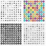 100 вектор велосипеда установленный значками различный Стоковые Фотографии RF