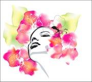 вектор весны девушки Стоковое Изображение