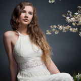 вектор весны иллюстрации девушки 10 eps стоковая фотография
