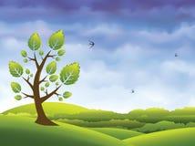 вектор весны ландшафта предпосылки Стоковая Фотография