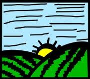 вектор весны утра поля после полудня Стоковое фото RF