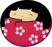вектор весны kokeshi девушки стоковое фото