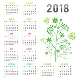 Вектор ветви цветка Нового Года 2018 календаря плановика Стоковые Изображения RF