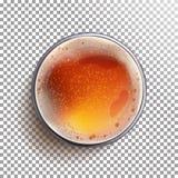 Вектор взгляд сверху стекла пива над взглядом Объявления пива Дизайн знамени винзавода Реалистическая изолированная иллюстрация Стоковая Фотография RF