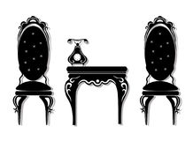 Вектор винтажной черной мебели установленный Высекаенное богачами собрание мебели орнаментов Стиль вектора викторианский Стоковая Фотография RF