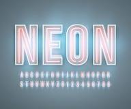Вектор влияния неонового алфавита шрифта реалистический иллюстрация штока