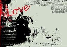 вектор влюбленности grunge предпосылки Стоковые Изображения