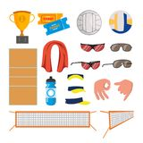 Вектор волейбола пляжа установленный значками Аксессуары волейбола Чашка, билеты, шарик, стекла, полотенце, поле, вода, показыват Стоковые Фотографии RF