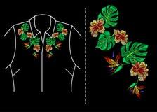 Вектор вышивки тропический Стоковые Изображения