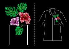 Вектор вышивки тропический Стоковое фото RF