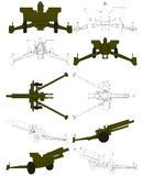 вектор гаубицы поля карамболя arttillery 02 Стоковые Изображения