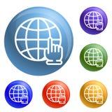 Вектор глобальных значков щелчка руки установленный иллюстрация штока