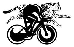 вектор гонки иллюстрации велосипедиста гепарда Стоковое Изображение