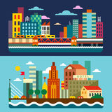 вектор горизонта конструкции города предпосылки ваш megalopolis Стоковые Изображения
