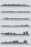 вектор горизонта 3 городских пейзажей Стоковые Фото