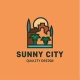 Вектор города на линии ладонях и здании захода солнца плоской тенденции дизайна стиля Стоковая Фотография