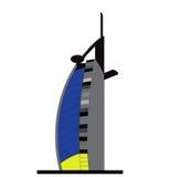 Вектор гостиницы пляжа Jumeirah силуэта Стоковое Изображение RF
