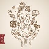 Вектор года сбора винограда lineart гравировки энергии жизни мира Eco дружелюбный Стоковые Изображения RF