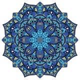 Вектор, голубая богато украшенная мандала Стоковое Фото