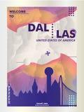 Вектор градиента города горизонта США Соединенных Штатов Америки Далласа Стоковые Изображения