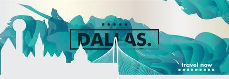 Вектор градиента города горизонта США Соединенных Штатов Америки Далласа Стоковые Изображения RF
