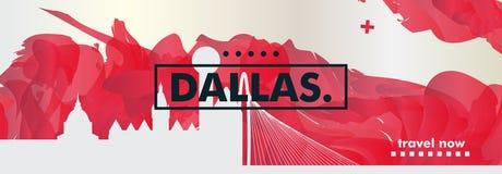 Вектор градиента города горизонта США Соединенных Штатов Америки Далласа Стоковая Фотография