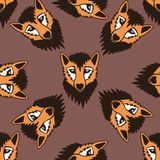 Вектор графика шаржа картины милой лисы безшовный Безшовную картину можно использовать для обоев, заполнений картины, предпосылки Стоковое Изображение