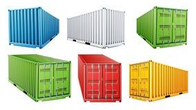 вектор грузового контейнера доставки 3D установленный Голубой, красный, зеленый, белый, желтый цвет Концепция контейнера для пере иллюстрация штока