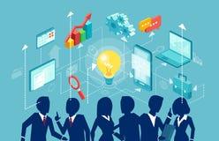 Вектор группы в составе предприниматели коллективно обсуждать идею, план запуска иллюстрация вектора