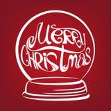 Вектор глобуса снега рождества нарисованный символом Стоковые Фотографии RF