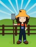 вектор девушки фермы Стоковые Фото