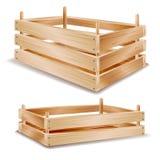вектор деревянной коробки 3d Деревянный поднос для хранить еда Изолированный на белой иллюстрации иллюстрация вектора