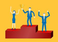 Вектор дизайна дела плоский бизнесменов на подиуме празднуя успех иллюстрация вектора