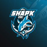вектор дизайна логотипа талисмана акулы с современным стилем концепции иллюстрации для печатания значка, эмблемы и футболки скача иллюстрация штока