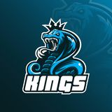 Вектор дизайна логотипа талисмана кобры короля с современным стилем концепции иллюстрации для печатания значка, эмблемы и футболк иллюстрация вектора