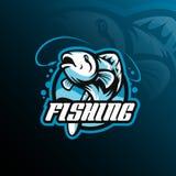 Вектор дизайна логотипа талисмана рыб с современным стилем концепции иллюстрации для печатания значка, эмблемы и футболки Скакать иллюстрация вектора