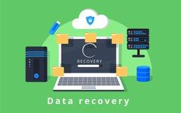 Вектор дизайна спасения, резервной копии данных, восстановления и безопасности данных плоский с значками Стоковая Фотография