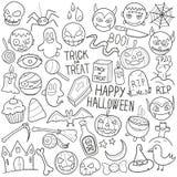 Вектор дизайна счастливого эскиза значков Doodle хеллоуина традиционного ручной работы иллюстрация вектора
